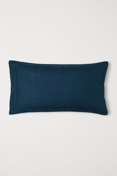 Washed linen pillowcase - Dark turquoise - Home All | H&M CN
