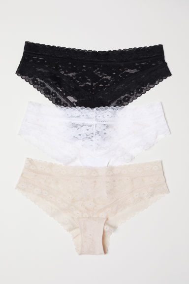 3-pack lace hipster briefs - Black/Light beige - Ladies | H&M