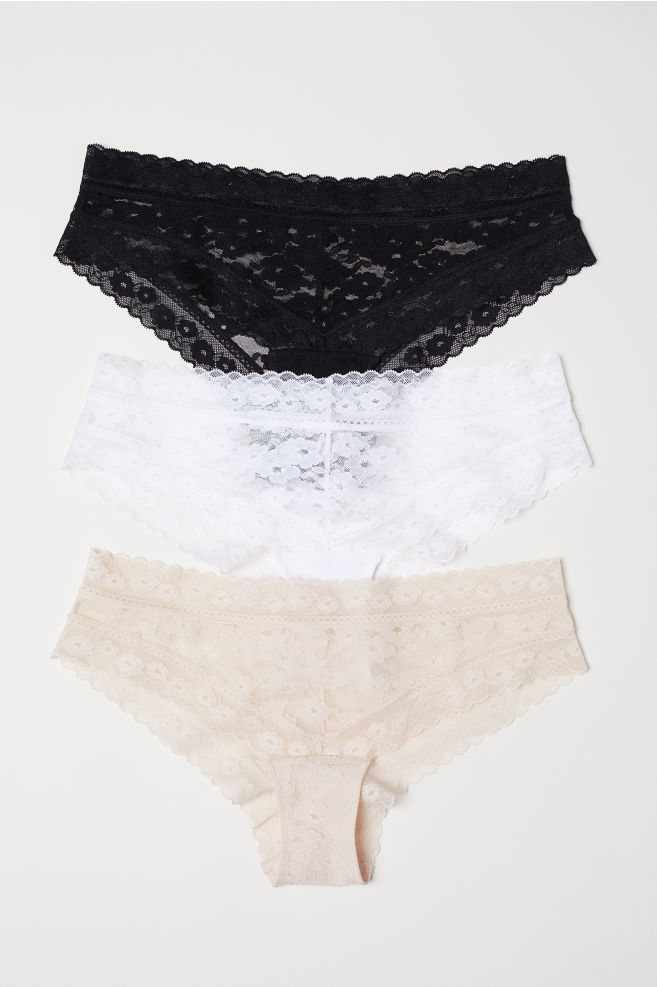 030fcb679eba 3-pack lace hipster briefs - Black/Light beige - Ladies   H&M GB