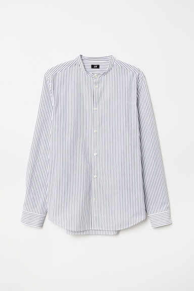 Poplin grandad shirt Slim Fit - White/Striped - Men | H&M CN