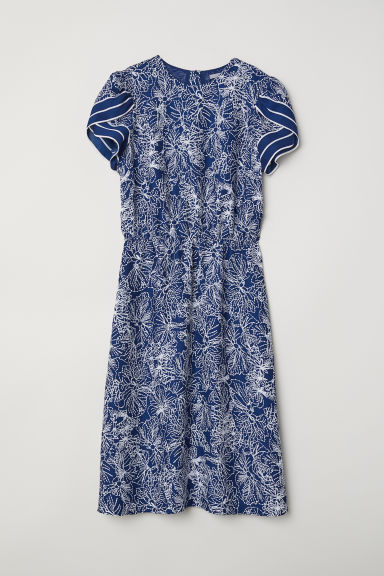 Satin dress - Dark blue/Patterned - Ladies | H&M