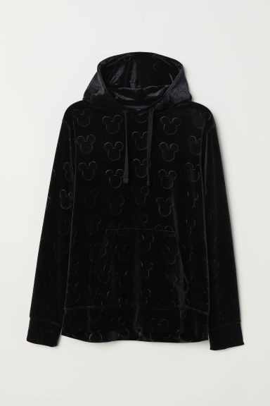 Velours hoodie - Zwart/Mickey Mouse - HEREN | H&M BE