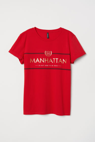 T-shirt with a motif - Red -  | H&M