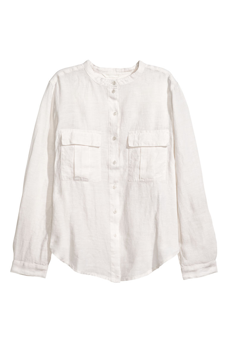 Linen shirt - Natural white - Ladies | H&M