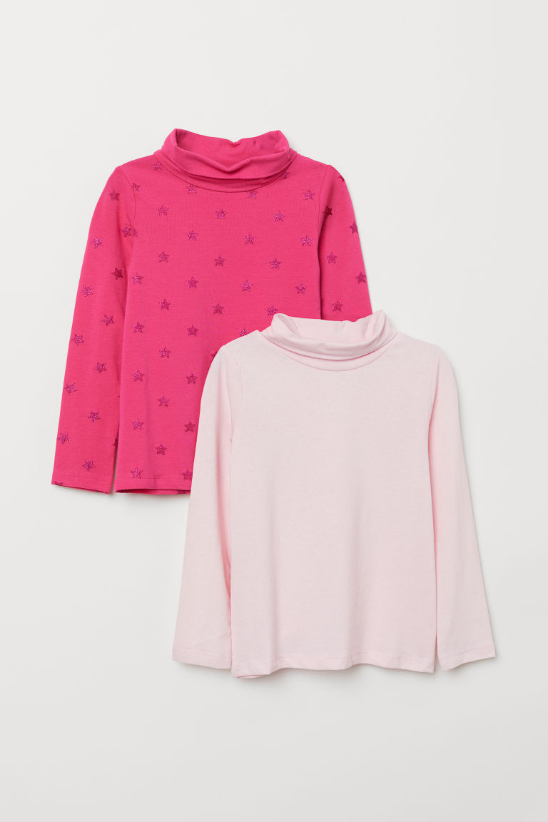 2-pack polo-neck tops - Pink/Stars - Kids | H&M
