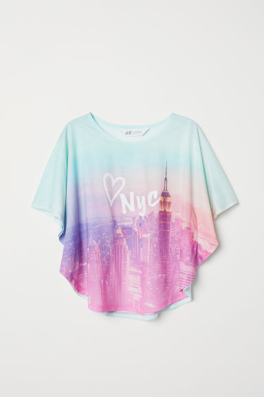 Wide printed top - Light green/Multicoloured - Kids | H&M CN