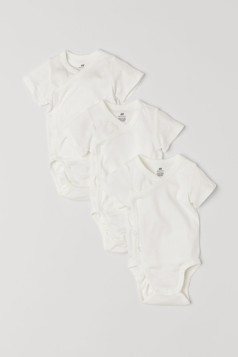 3-pack wrapover bodysuits - White - Kids | H&M CN