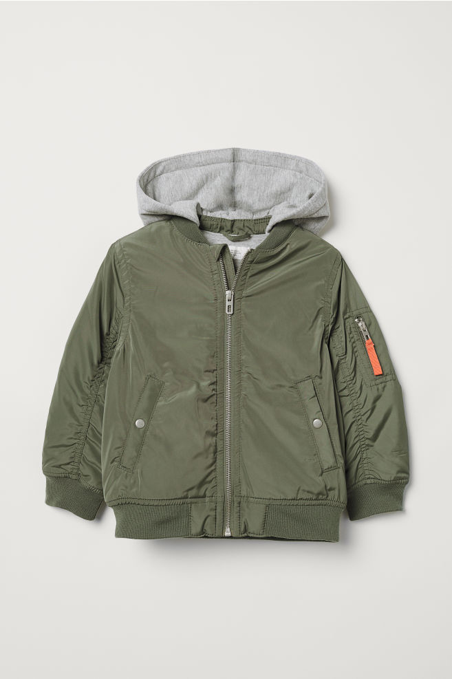 c4c7e907f314 Hooded Bomber Jacket - Khaki green - Kids