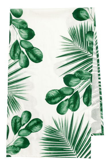 Patterned cotton table runner - White/Leaf - Home All | H&M GB