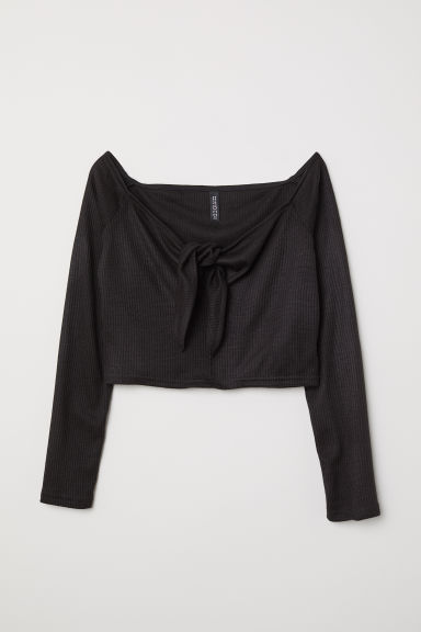 Ribbed off-the-shoulder top - Black - Ladies | H&M