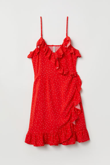 Wrap dress with flounces - Red/Spotted -  | H&M