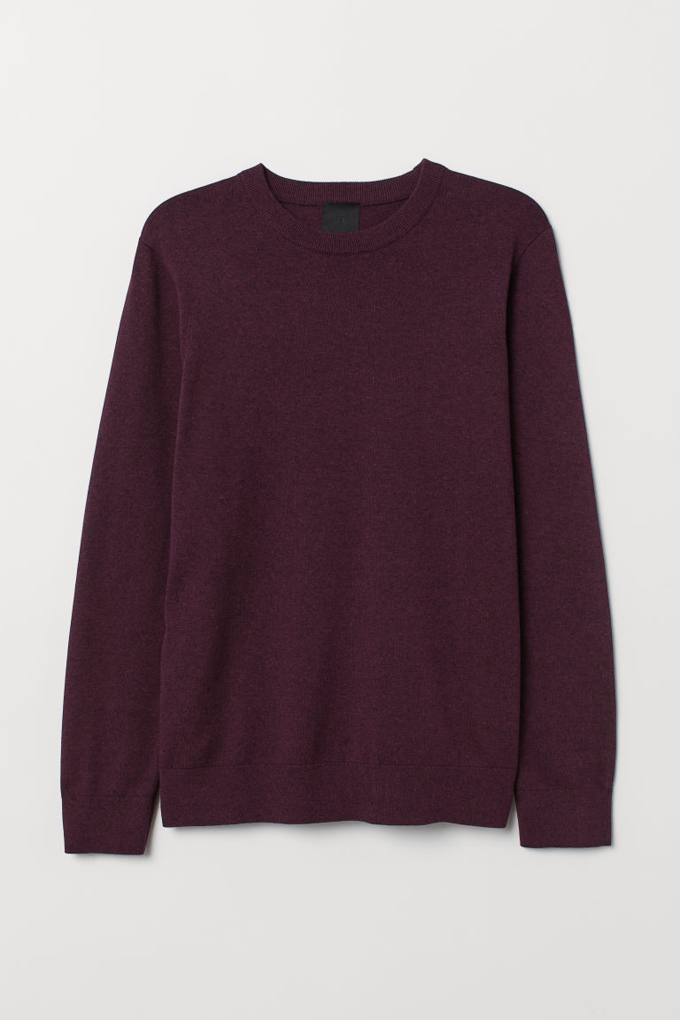 Fine-knit jumper - Plum marl - Men | H&M CN