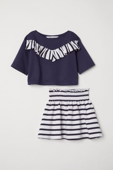 Skirt and top - Dark blue/Striped -  | H&M