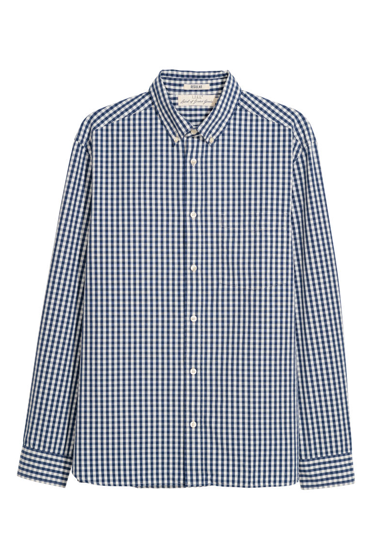 Poplin shirt Regular fit - Blue/Checked - Men | H&M IE