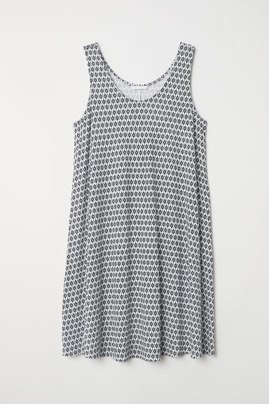 A-line jersey dress - White/Patterned - Ladies | H&M