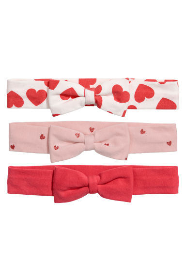 3-pack hairbands - Red/Hearts - Kids | H&M CN