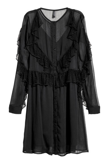 Abito in chiffon con volant - Nero -  | H&M IT