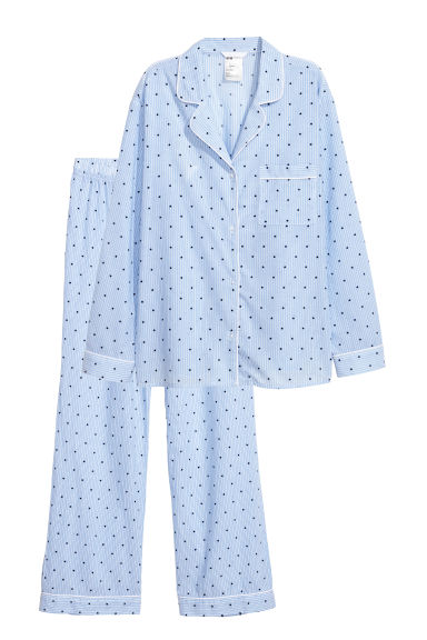 Pyjama shirt and bottoms - Light blue/Spotted -  | H&M CN
