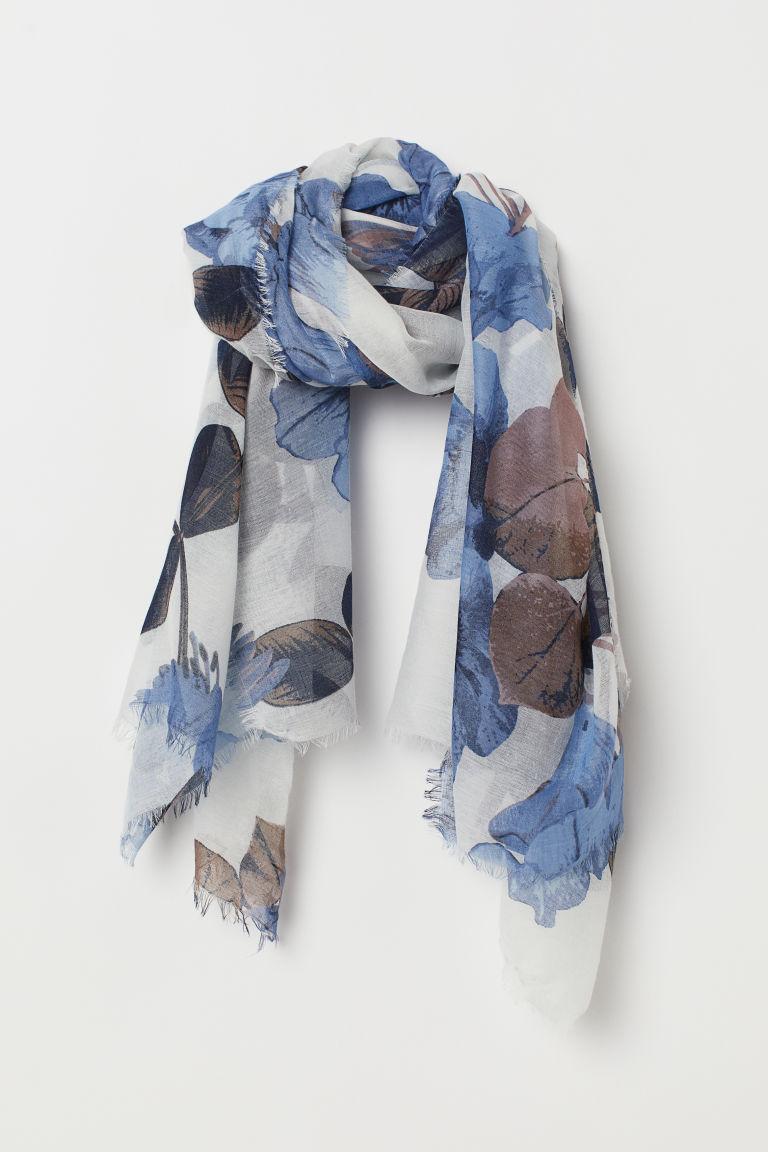 177343cf958 Tyndt tørklæde - Hvid/Blåblomstret - DAME | H&M DK