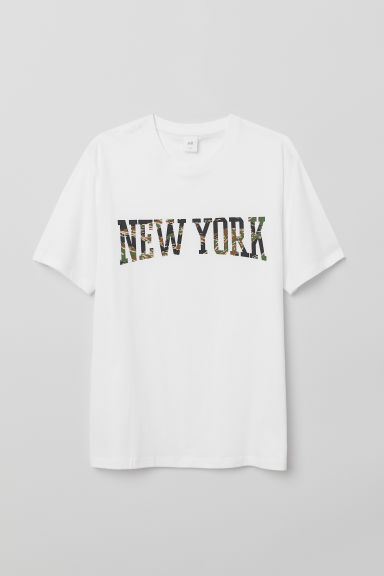 Printed T-shirt - White/New York - Men | H&M