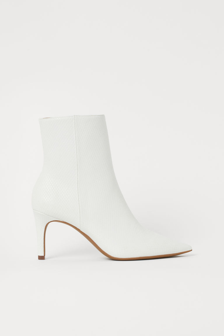 Ankle boots - White/Snakeskin-patterned - Ladies | H&M