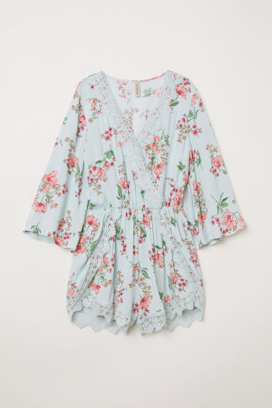 Playsuit with lace - Light turquoise/Floral - Ladies | H&M CN