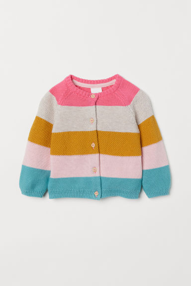 Textured-knit cardigan - Pink/Block-striped -  | H&M CN