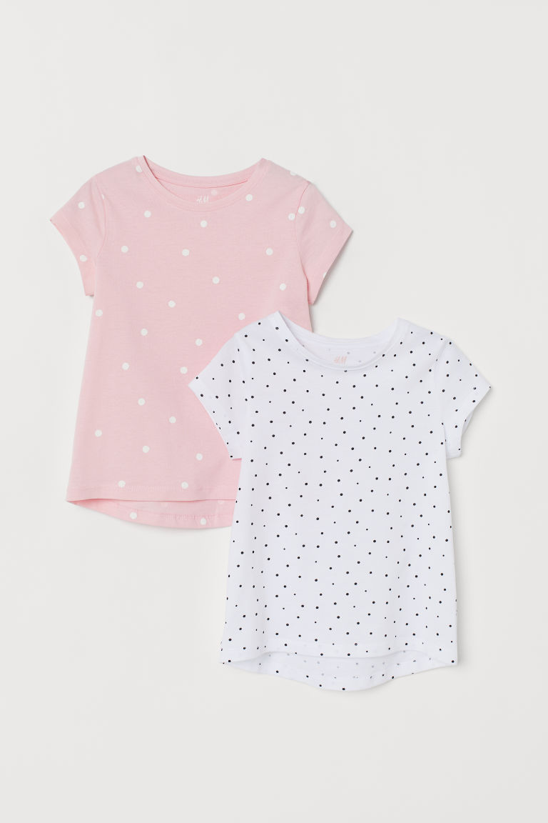 2-pack T-shirts - White/Spotted - Kids | H&M CN