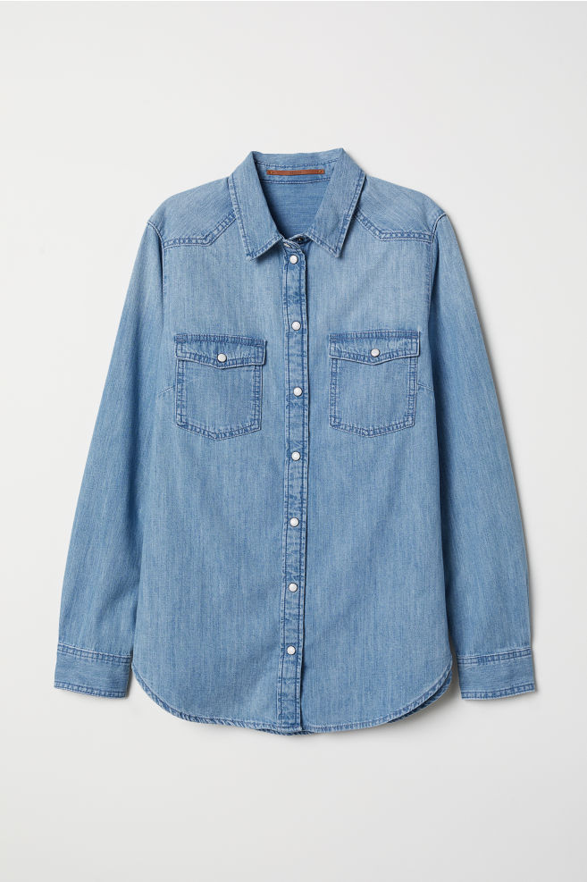 309ed069df Denim Shirt - Light denim blue -