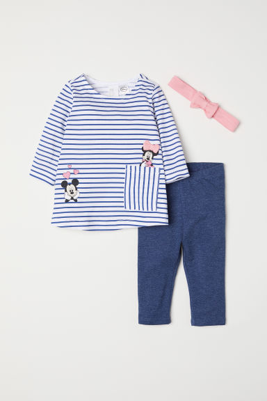 3-piece jersey set - Blue/Minnie Mouse - Kids | H&M