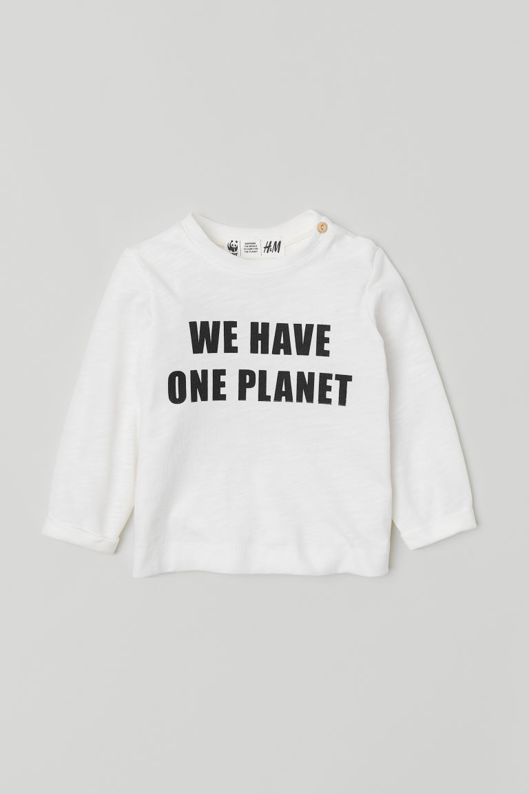 Text-print top - White/One Planet - Kids | H&M