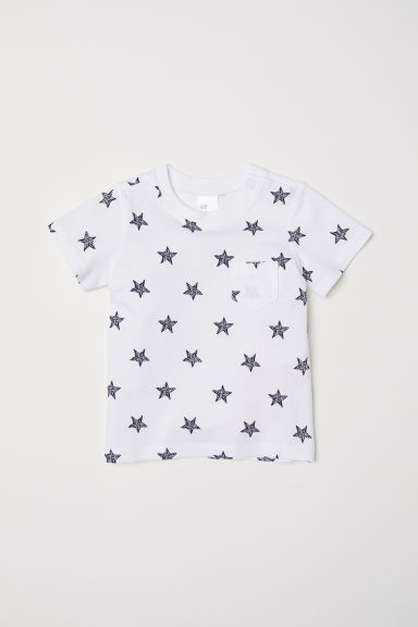 Cotton T-shirt - White/Stars - Kids | H&M CN