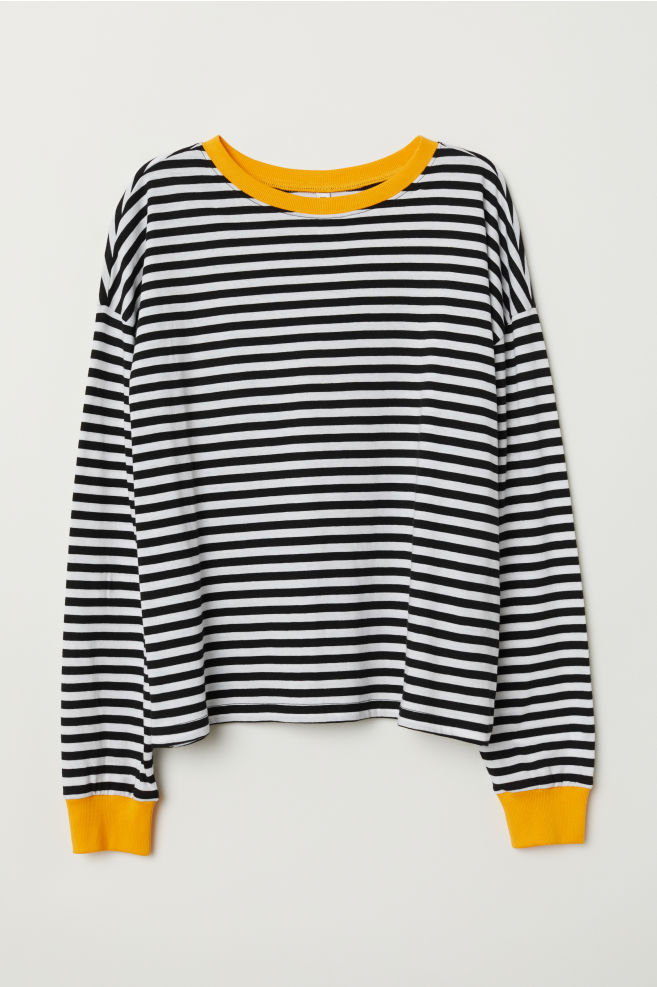 6d0f116807ae8 ... Striped Jersey Top - Black white striped - Ladies