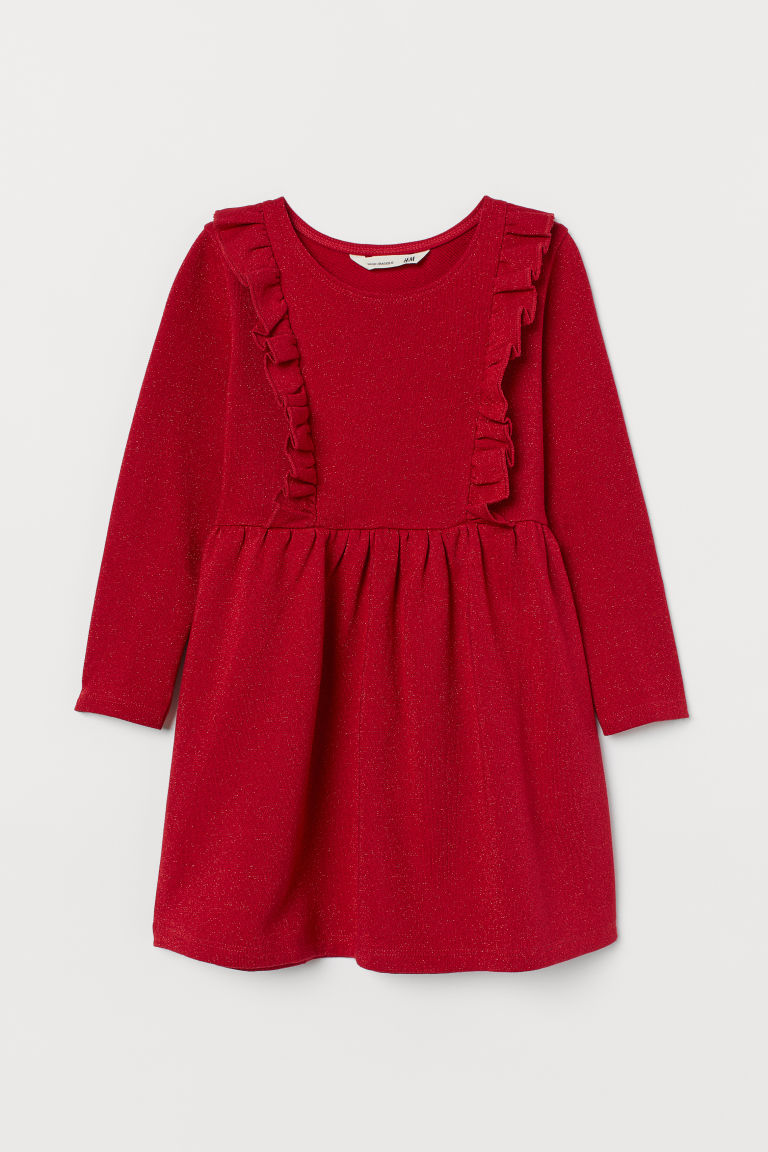 Jersey dress - Red/Glittery - Kids | H&M