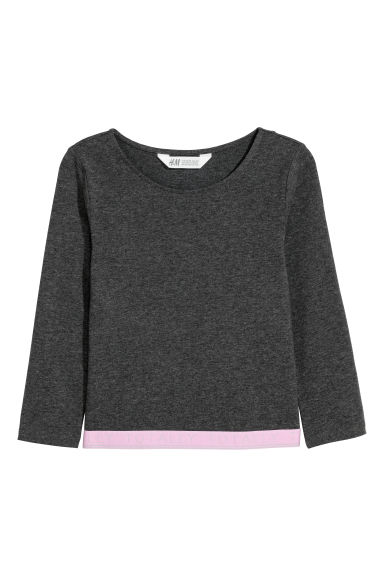 Jersey top with elastication - Grey marl/Totally - Kids | H&M GB