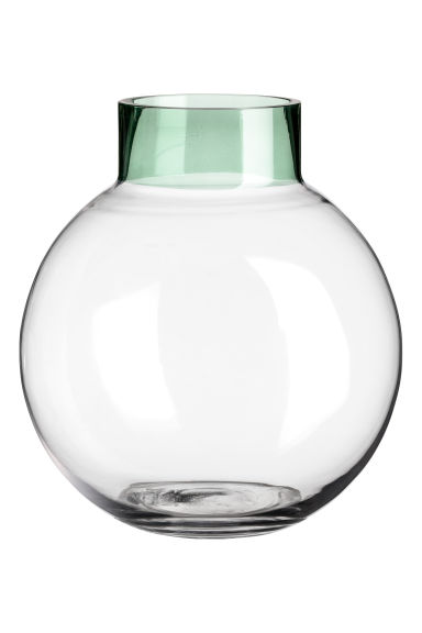 Round glass vase - Transparent/Green - Home All | H&M CN