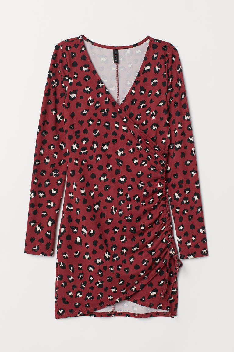 Jersey dress with a drawstring - Rust red/Leopard print -  | H&M