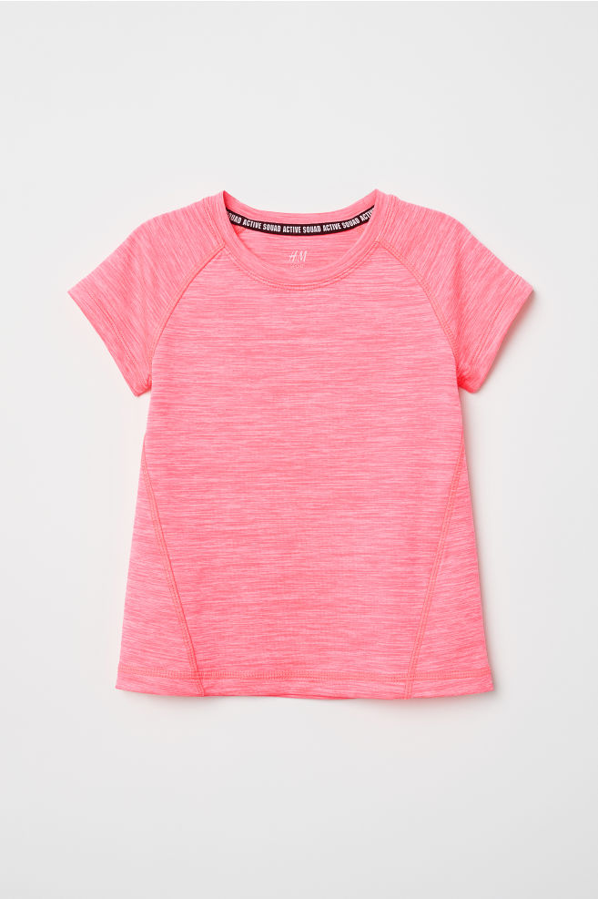 1f58718de499a Short-sleeved sports top - Neon pink marl - Kids