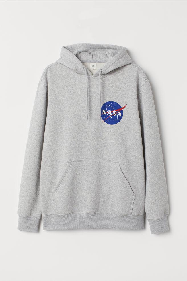 287bcd3f3 Printed Hooded Sweatshirt - Light gray melange/NASA - Men | H&M ...