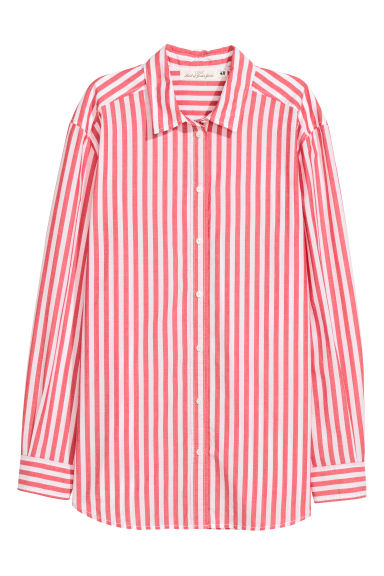 Cotton shirt - Red/White striped - Ladies | H&M GB