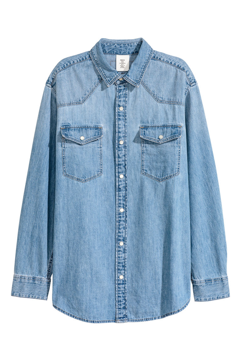 Oversized denim shirt - Denim blue - Ladies | H&M
