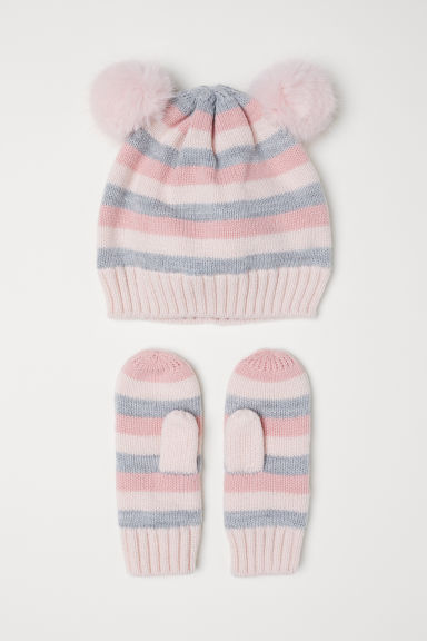 Hat and mittens - Light grey/Striped - Kids | H&M