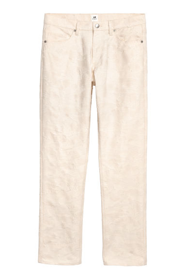 Jacquard-patterned trousers - Natural white -  | H&M