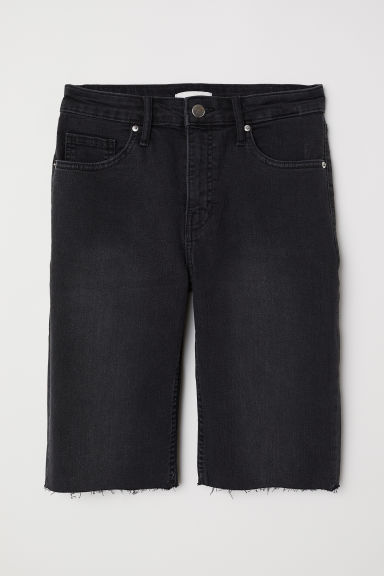Knee-length denim shorts - Black washed out -  | H&M