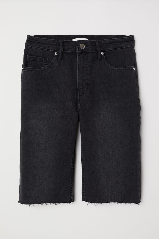 043df7f9d8 Knee-length denim shorts - Black washed out - Ladies | H&M ...