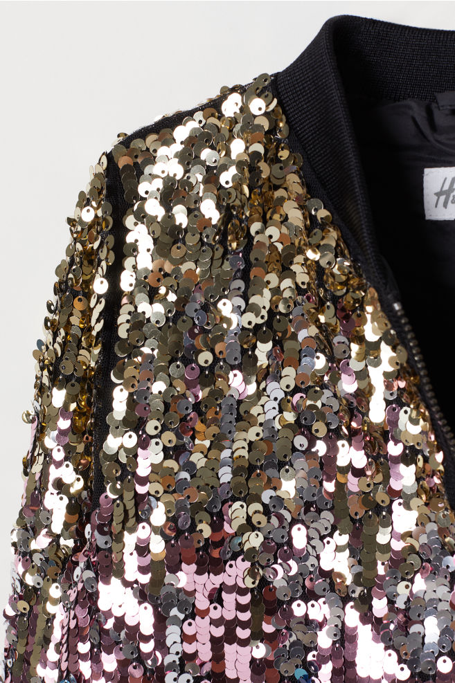 a6e94739ca4 ... Bomber jacket with sequins - Black Multicoloured - Kids
