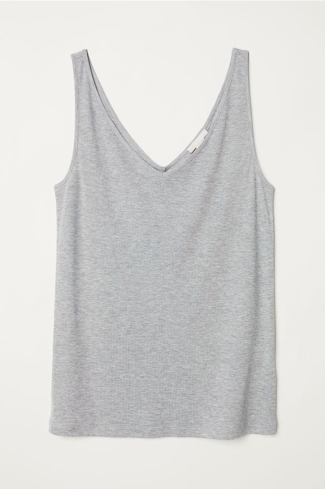4971bc33b7c3 V-neck lyocell vest top - Grey marl - Ladies | H&M ...