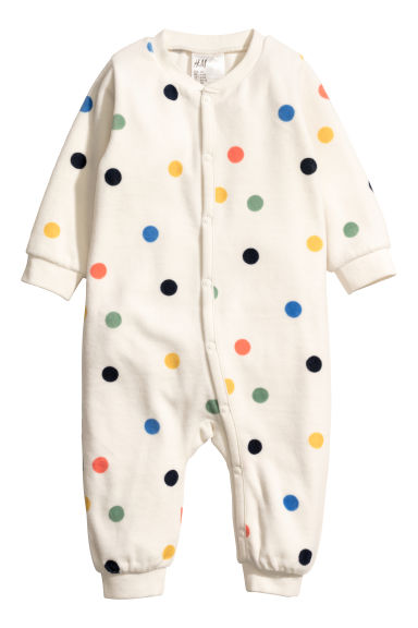 Velour pyjamas - White/Spotted -  | H&M CN