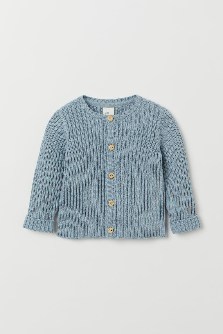 Ribbed cardigan - Light blue - Kids | H&M