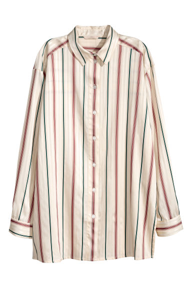 Shirt with woven stripes - Cream/Striped -  | H&M GB